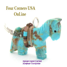 Carved Horse Kingman Turquoise Pendant NAM-1405 Native American Artisan Jeff Howe Four Corners USA OnLine