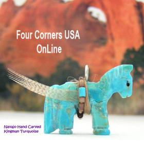 Carved Horse Kingman Turquoise Pendant NAM-1406 Native American Navajo Artisan Jeff Howe Four Corners USA OnLine