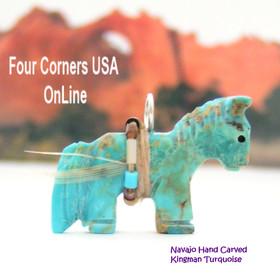Carved Horse Kingman Turquoise Pendant NAM-1409 Native American Navajo Artisan Jeff Howe Four Corners USA Online