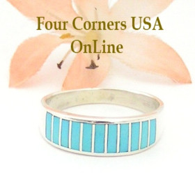 Size 10 1/2 Turquoise Inlay Wedding Band Ring by Navajo Ella Cowboy WB-1546 Four Corners USA OnLine Native American Silver Jewelry