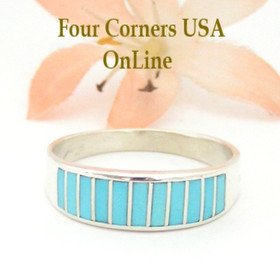 Size 11 1/2 Turquoise Inlay Wedding Band Ring by Navajo Ella Cowboy WB-1547 Four Corners USA OnLine Native American Silver Jewelry WB-1547