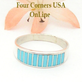 Size 12 Turquoise Inlay Wedding Band Ring by Navajo Ella Cowboy WB-1548 Four Corners USA OnLine Native American Silver Jewelry