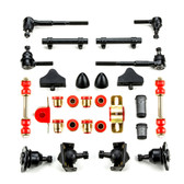 1955 1956 1957 Chevrolet Full Size Red Polyurethane New Front End Suspension Master Rebuild Kit with Idler Arm Repair Kit