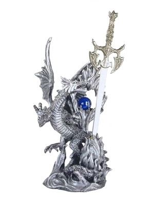 Fierce Silver Dragon with Sword and Orb