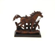 Running horse with wood base
