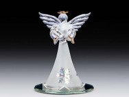 White angel with dove on mirror base