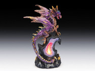 Purple dragon on geode with LED light