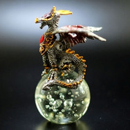 Pewter Dragon on Crystal