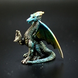 Blue and Yellow Pewter Dragon