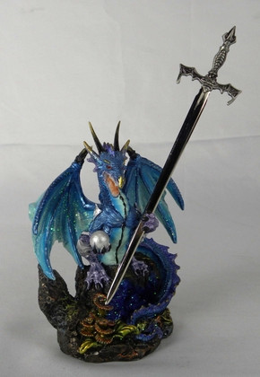 Blue dragon with letter opener