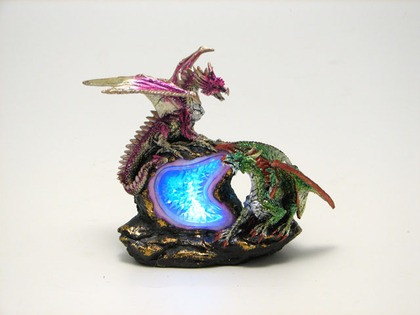 Purple and green dragons with LED light