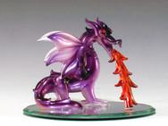 Spun Glass Dragon flame on oval mirror base