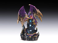 Purple dragon on layered castle with LED light