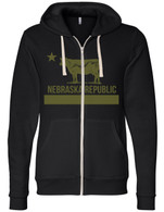 Nebraska Republic Zip Hoodie (Black N Gold)