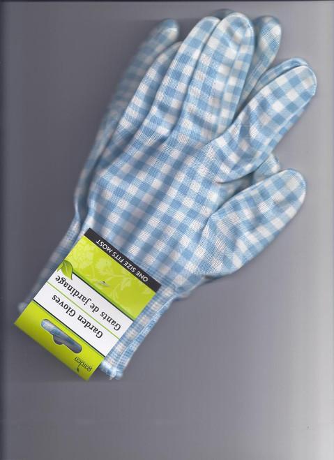 Garden Gloves  - Blue & White Gingham Check