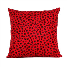 Red with Black Paw Prints Accent Pillow