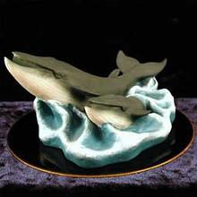 Finback Whale Figurine on Black Base
