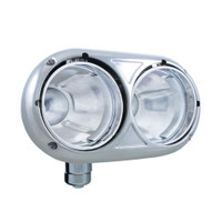 Headlight Bucket Dual Round Drivers Side Stainless