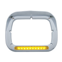 10 LED Single Headlight Bezel w/ Visor - Amber LED/Amber Lens