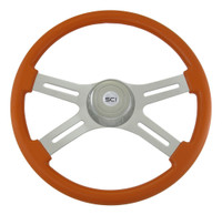 "Steering Wheel 4 Spoke 18"" Orange (Requires 3 Hole Hub)"
