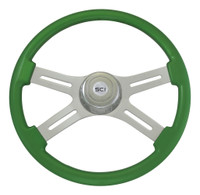 "Steering Wheel 4 Spoke 18"" Green (Requires 3 Hole Hub)"