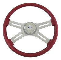 "Steering Wheel 4 Spoke 18"" Classic Red (Requires 3 Hole Hub)"