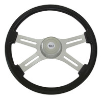 "Steering Wheel 4 Spoke 18"" Black (Requires 3 Hole Hub)"