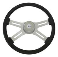 """Steering Wheel 4 Spoke 18"""" Black (Requires 3 Hole Hub)"""