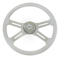 "Steering Wheel 4 Spoke 18"" White (Requires 3 Hole Hub)"