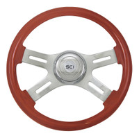 "Steering Wheel 16"" Clasic Mahogany Wood Wheel (Requires 3 Hole Hub)"