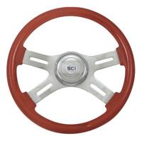 "Steering Wheel 16"" Clasic Mahogany Wood Wheel (Requires 3 Hole Hub)"