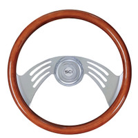 "Steering Wheel 18"" Mahogany ""Flight"" (Requires 3 Hole Hub)"
