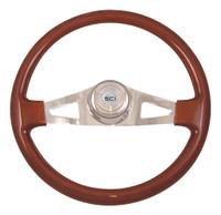 "Steering Wheel 18"" Pinion Mahogany (Requires 3 Hole Hub)"
