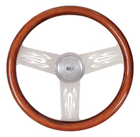 "Steering Wheel 18"" Mahogany ""Flames"" (Requires 3 Hole Hub)"