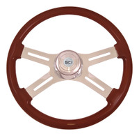 "Steering Wheel 18"" Mahogany ""Classic"" (Requires 3 Hole Hub)"