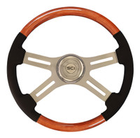"Steering Wheel 18"" Classic Combo Mahogany & Leather (Requires 3 Hole Hub)"