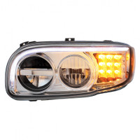 2008+ Peterbilt 388/389 Chrome LED Headlight with LED Turn Signal & LED Position Light Bar - Driver