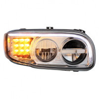 2008+ Peterbilt 388/389 Chrome LED Headlight with LED Turn Signal & LED Position Light Bar - Passenger