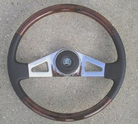 "STEERING WHEEL 18"" WOOD & LEATHER 2-SPOKE"