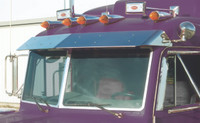 """Peterbilt Ultra Cab 11"""" Factory-Style Extended Visor 2002-2005 with Door Mounted Mirrors"""