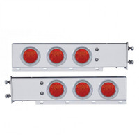 "2 1/2"" Bolt Pattern Stainless Spring Loaded Light Bar w/ Six 4"" 7 LED Light & Visor - Red LED/Red LENS"