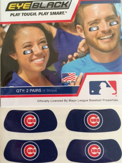 Chicago Cubs EyeBlack. 4 strips with each package.