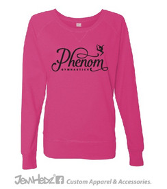 Pink Girls'/Ladies' Slouchy Long Sleeve T-Shirt with Phenom Gymnastics ribbon logo