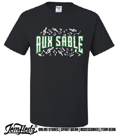 """Black Short Sleeve T-Shirt with Aux Sable music dept logo and """"Band"""" or """"Choir"""" added to left sleeve"""