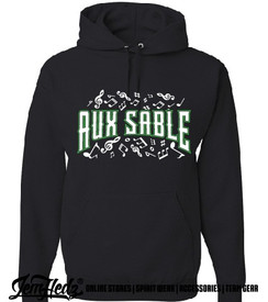 """Black Hooded sweatshirt with Aux Sable music dept logo on front and """"Band"""" or """"Choir"""" added to left sleeve"""