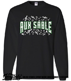 """Black Long Sleeve T-Shirt with Aux Sable music dept logo on front and """"Band"""" or """"Choir"""" added to left sleeve"""