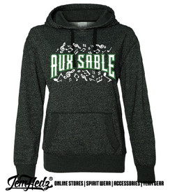 """Black Ladies' Glitter Hoodie with Aux Sable music dept logo on front and """"Band"""" or """"Choir"""" added to left sleeve"""