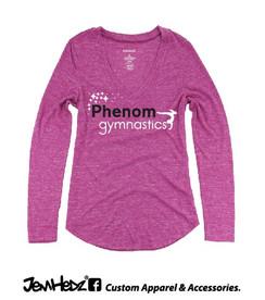 Fuchsia Heather Phenom Ladies'/Girls' Long Sleeve V-Neck T with Phenom Gymnastics star logo