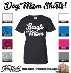 Black Ladies' Fit Short Sleeve T-Shirt with Beagle Mom logo