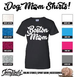 Black Ladies' Fit Short Sleeve T-Shirt with Boston Mom logo